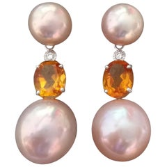 Natural Color Pinkish Pearls Citrine Diamonds White Gold Dangle Earrings