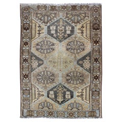 Natural Color Toned Vintage Persian Bakhtiari Rug with Large-Scale Geometrics