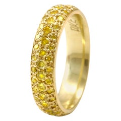 Natural Color Yellow Diamond Pave' Band in 18 Karat Gold