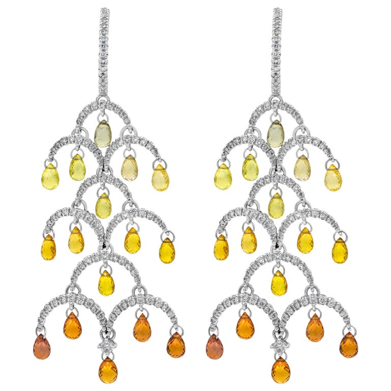 Natural Colored Briolette Sapphire and Diamond Chandelier Earrings For Sale