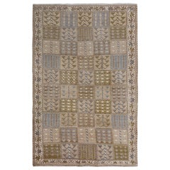 Natural Colors Gallery Size Old and Worn Down Persian Bakhtiari Hand Knotted Rug