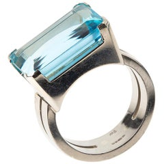 Natural Color Aquamarine and 14 Carat Gold Ring, London, 1961
