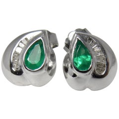 Natural Columbian Emerald and Diamond Stud Earrings 18 Karat White Gold