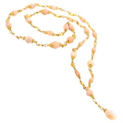 Natural Conch Pearl GIA Fancy Yellow Diamond and Sapphire Long Gold Necklace