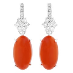 Natural Coral and Diamond Set Gold Earrings