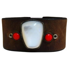 Natural Coral and Moonstone Leather Cuff Bracelet Vintage