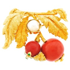 Natural Coral and Pearl Brooch
