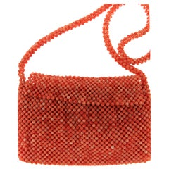 Natural Coral Bead Woven Bag