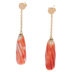 Intini Jewels Natural Coral Carved Tear 18 Karat Gold Chain Long Bold Earrings
