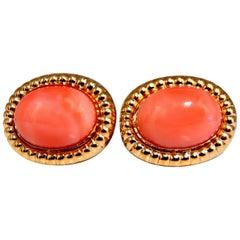 Natural Coral Clip Earrings 14 Karat