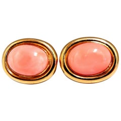 Natural Coral Clip Earrings 14 Karat