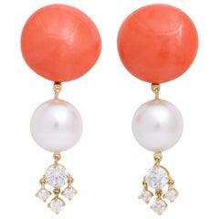 Natural Coral Cultured Pearl and Diamond 18K Gold Clip-On Earrings by Donna Vock