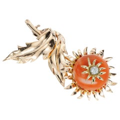 Natural Coral Diamond Sunflower Yellow Gold Brooch