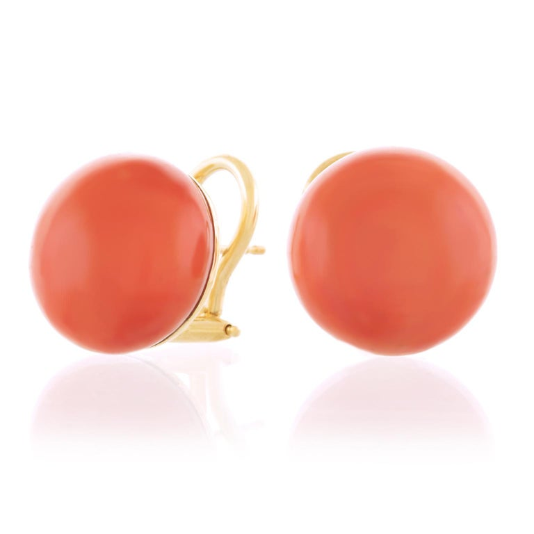 Natural Coral Earrings GIA 18 Karat, circa 1950s-2000s For Sale 3