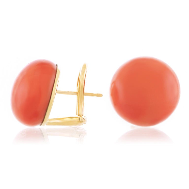 Natural Coral Earrings GIA 18 Karat, circa 1950s-2000s For Sale 4