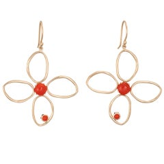 Natural Coral Earrings Large Flowers Estate 14 Karat Gold Drops Fine Jewelry