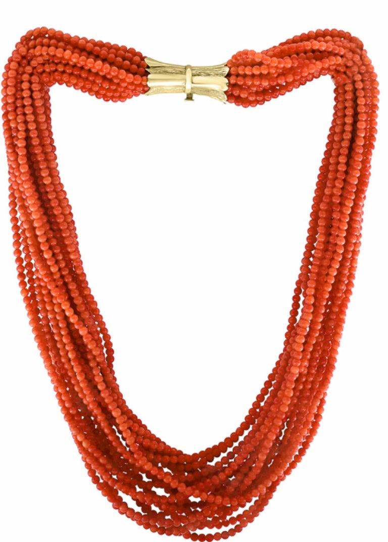 100/% Natural Vintage red Coral Beaded Bracelet 7inc