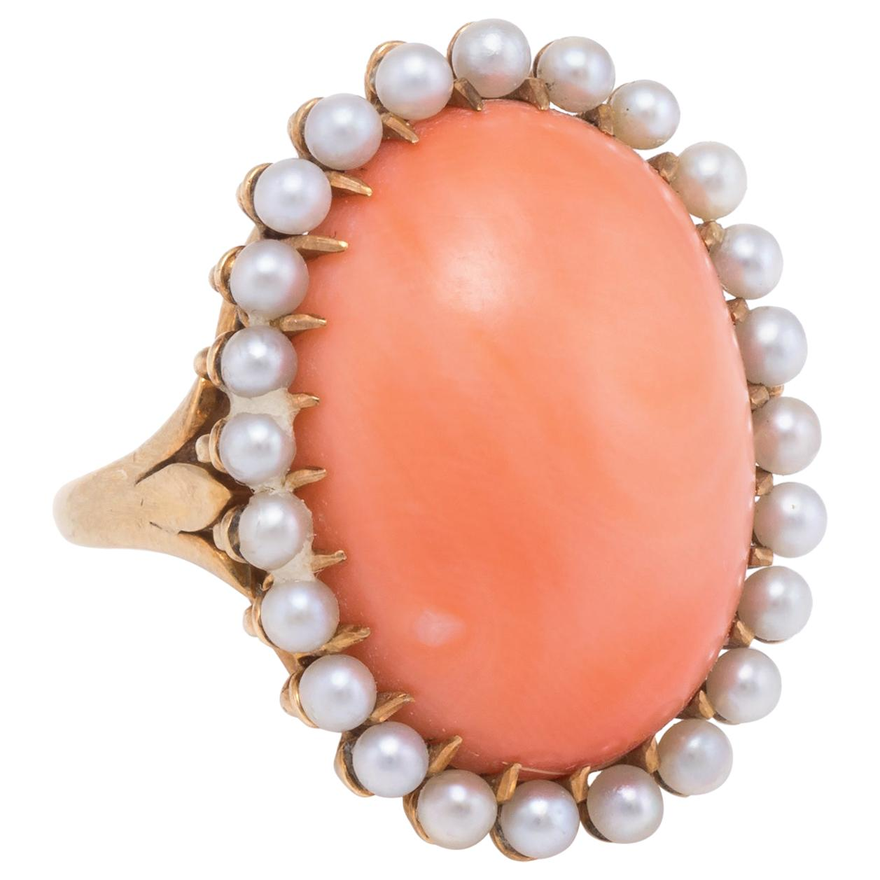 Natural Coral Pearl Cocktail Ring Vintage 14 Karat Gold Estate Fine Jewelry