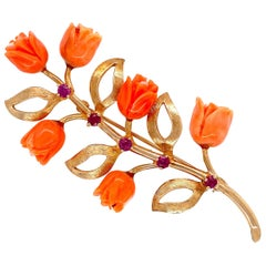 Natural Coral Roses and Rubies Gold Brooch Pin Estate Fine Jewelry