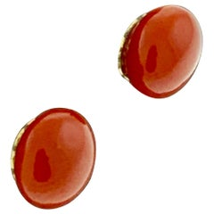 Natural Coral Simple Stud Earring in 18 Karat Yellow Gold