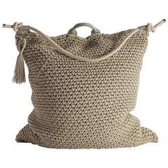 21st Century Asian Natural Cream Outdoor Indoor Handmade Bag Cushion