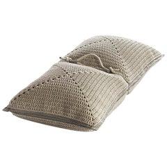 21st Century Asian Natural Cream Outdoor Indoor Handmade Floor Cushion
