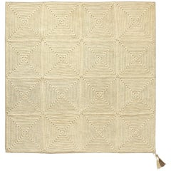 21st Century Asian Natural Cream Outdoor Indoor Medium Handmade Rug Crochet