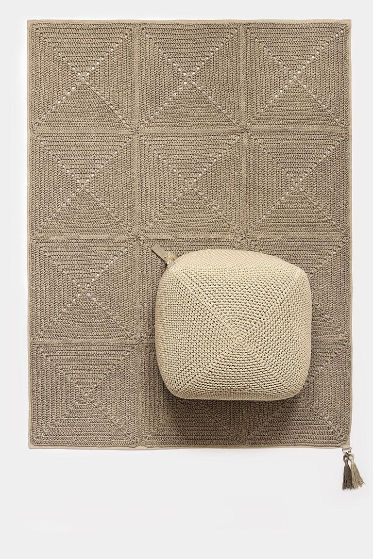 Hand-Crafted 21st Century Asian Natural Cream Outdoor Indoor Handmade Pouf For Sale