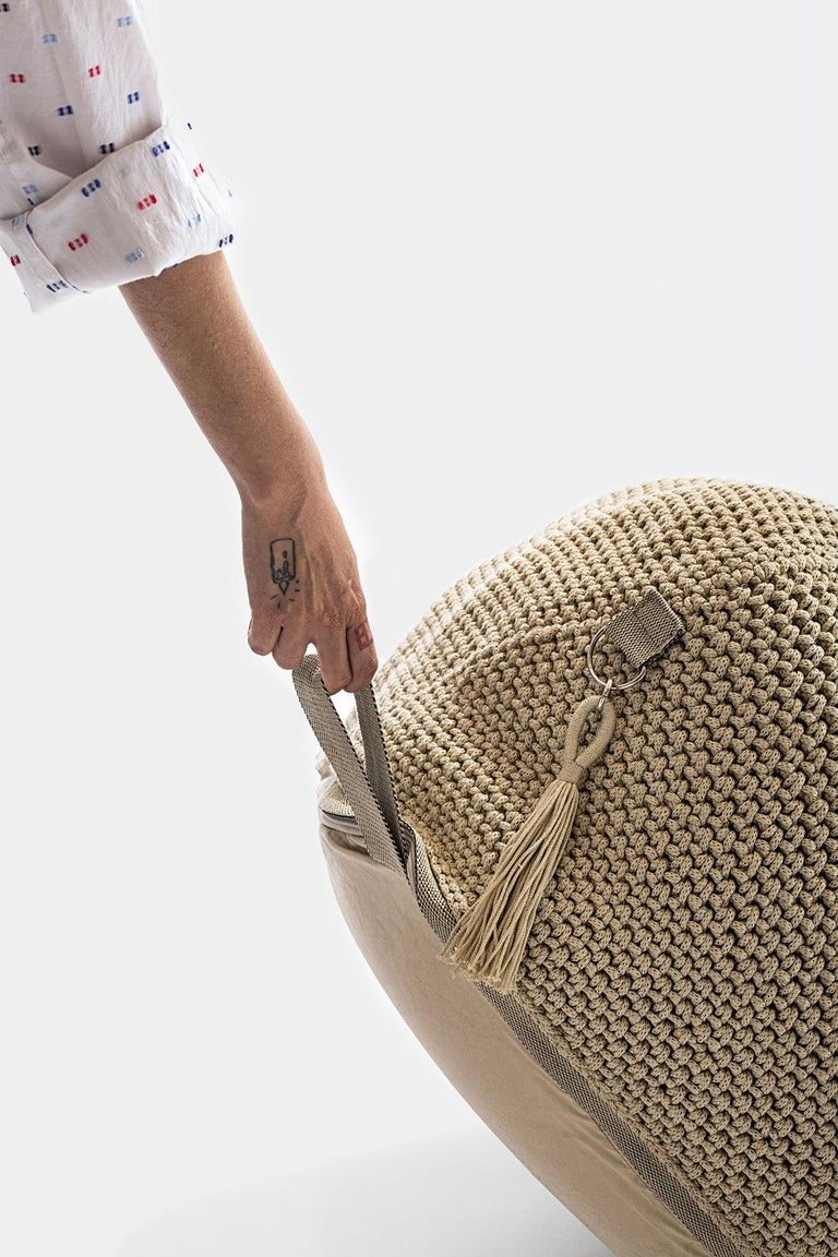 21st Century Asian Natural Cream Outdoor Indoor Handmade Pouf In New Condition For Sale In Tel Aviv, IL