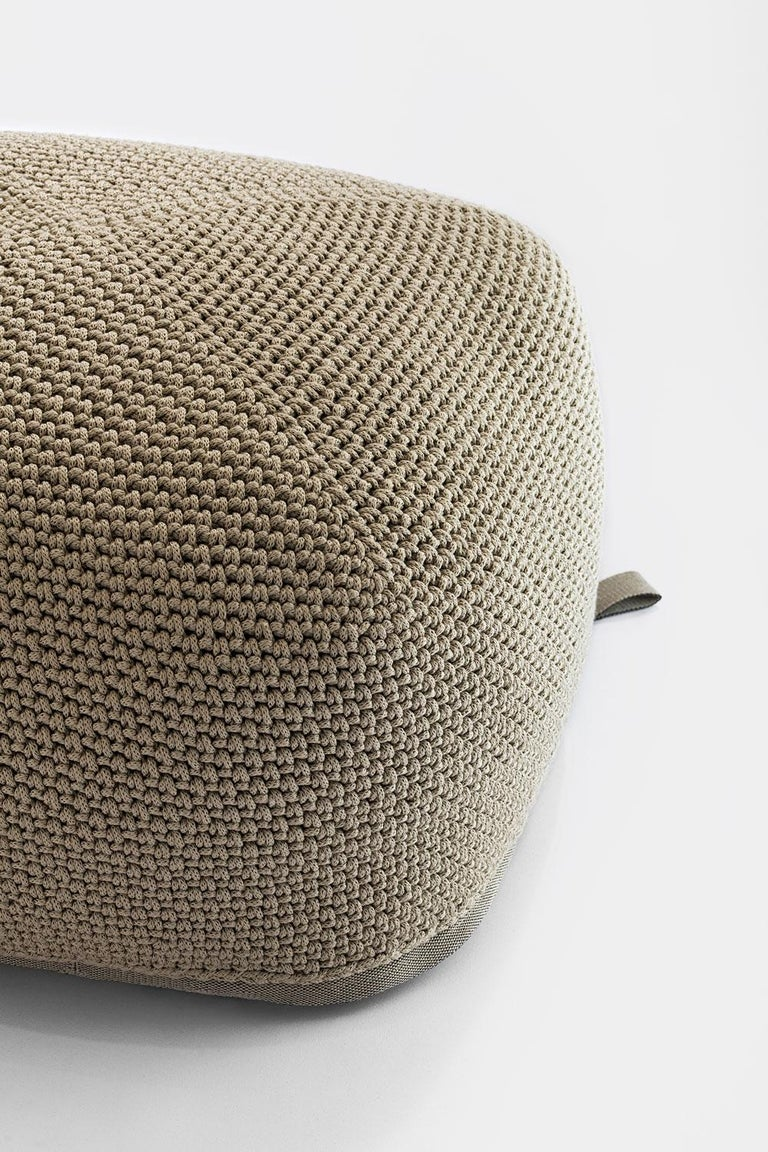 Contemporary 21st Century Asian Natural Cream Outdoor Indoor Handmade Pouf For Sale