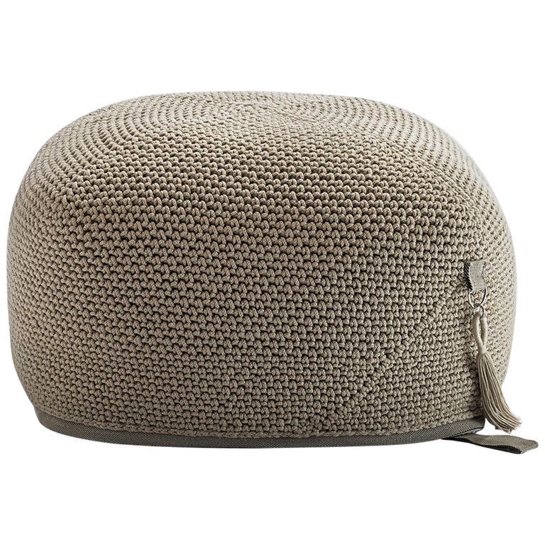 21st Century Asian Natural Cream Outdoor Indoor Handmade Pouf For Sale