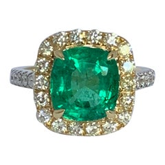 Natural Cushion Emerald and Diamond Ring