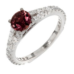 1.07 Carat Natural Pink Dark Brown Sapphire Diamond Gold Engagement Ring