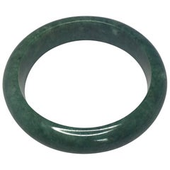 Natural Deep Green Jadeite Jade Bangle Bracelet Mottled Green 80g