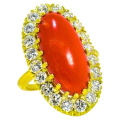 Natural Deep Red Coral and Diamond Ring, circa 1965