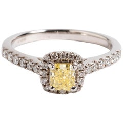 Natural Diamond '0.44 Carat', Halo Ring, with Certificate