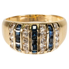 Natural Diamond and Sapphire Yellow Gold Ring