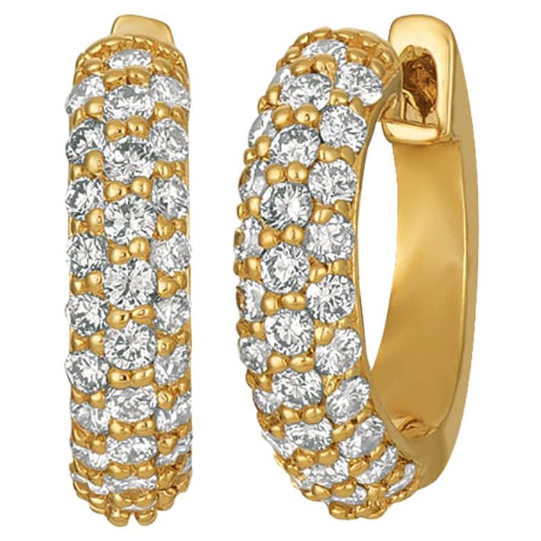 Natural Diamond Hinged Hoop Earrings G SI 14 Karat Yellow Gold