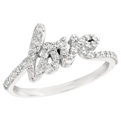 Natural Diamond Love Ring Band 14 Karat White Gold