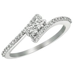 Natural Diamond Love Ring G SI 14 Karat White Gold