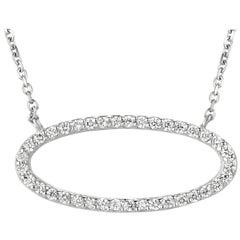 Natural Diamond Oval Shape Pendant Necklace 14 Karat White Gold Chain