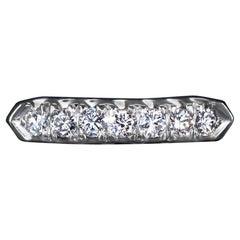 Natural Diamond Platinum Wedding Band Classic Stacking Ring 7 Stone Round Estate