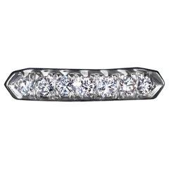 Natural Diamond Platinum Wedding Band Classic Stacking Ring 7-Stone Round Estate