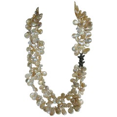 Natural Drop Coin Cultured Pearls Rock Crystal Exclusive 925 Clasp Necklace