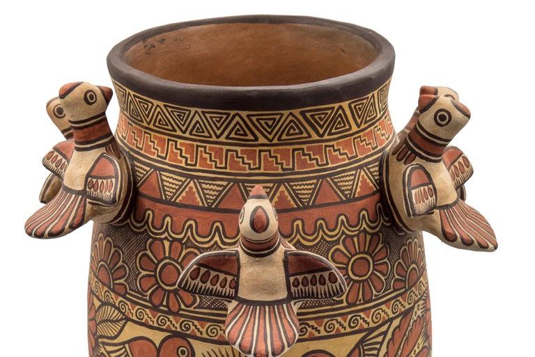 Mexican Natural Earth Tone Vessel Vase Pre-Hispanic Birds Flowers Clay Ceramic Folk Art For Sale