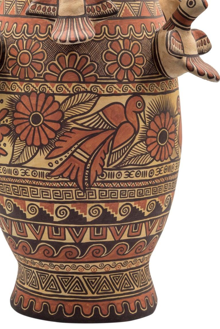 Hand-Painted Natural Earth Tone Vessel Vase Pre-Hispanic Birds Flowers Clay Ceramic Folk Art For Sale