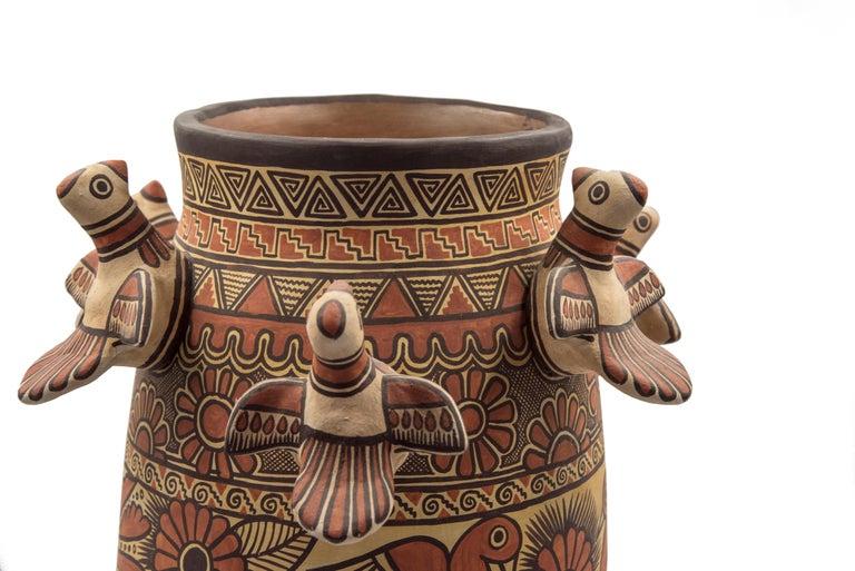 Natural Earth Tone Vessel Vase Pre-Hispanic Birds Flowers Clay Ceramic Folk Art In New Condition For Sale In Queretaro, Queretaro