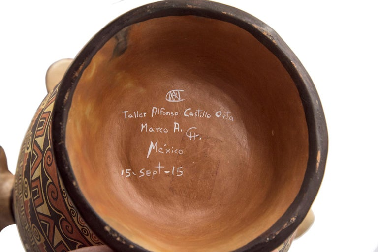 Contemporary Natural Earth Tone Vessel Vase Pre-Hispanic Birds Flowers Clay Ceramic Folk Art For Sale