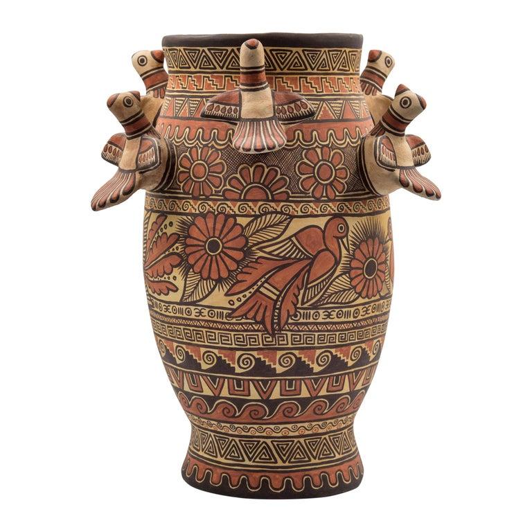 Natural Earth Tone Vessel Vase Pre-Hispanic Birds Flowers Clay Ceramic Folk Art For Sale