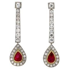 Natural Edwardian Burmese Ruby and Diamond Drop Earrings, circa 1910